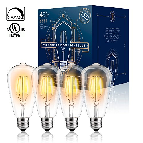 Old style outdoor lighting amazon edison led light bulb dimmable ul listed 4 w 40 watt equivalent st64 warm color 2300k e26 medium base 4 pack led vintage style filament light aloadofball Gallery