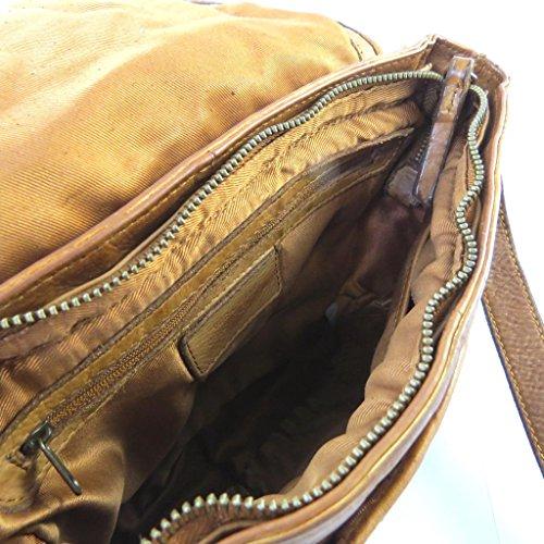 Bolsa de cuero 'Gianni Conti'coñac trenzada - 25x20x5 cm.
