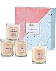 Scented Candles Gift Set - Aromatherapy Candles Set, Natural Soy Wax Fragrance Candles for Stress Relief and Home Decor, 4x3.5Oz Portable Travel Tin, Christmas Birthday Gift Set for Women