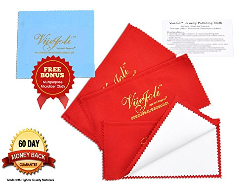 3 Pack 4Ply Premium Jewelry Polishing Cloth for Gold Silver Jewelry Coins Gemstones Watches Flatware Lint-Free w/ Complimentary Microfiber Cleaning Cloth from VueJoli