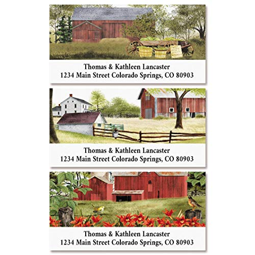 Country Barns Return Address Labels- Set of 144, Square Self-Adhesive, Flat-Sheet Labels, by Colorful Images (3 Designs)