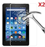 EVERMARKET Premium Tempered Glass 9H-Hardness Screen Protector Flim for Amazon Fire 7'' 7 inch Tablet [2015 Released] - 2 Packs
