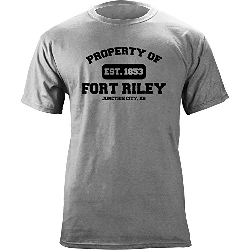 Brigade Fitted T-shirt - Original Military Base Property of Fort Riley Veteran PT T-Shirt (XL, Heather Grey)