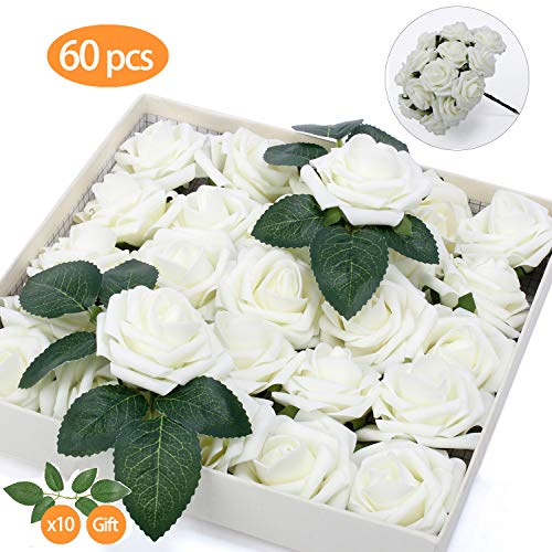 TOPHOUSE 60pcs Artificial Flowers Roses Real Touch Fake Roses for DIY Wedding Bouquets Bridal Shower Party Home Decorations (Ivory)