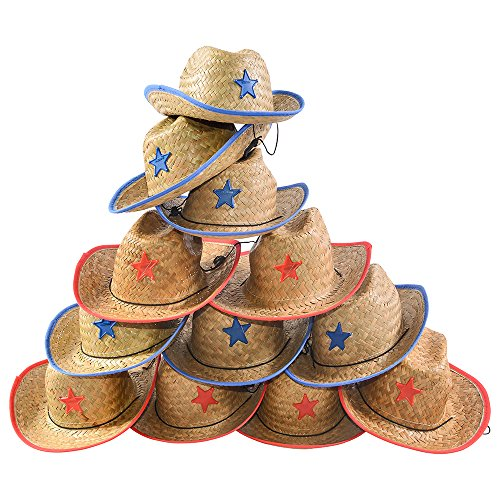 [Child Straw Cowboy Hat - 12 Straw Cowboy Hats W/ Sheriff Badge Funny Party Hats] (Country Girl Costumes For Kids)