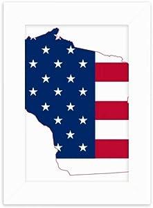 DIYthinker Wisconsin America Map Stars Stripes Flag Shape Desktop Photo Frame Picture Display Decoration Art Painting