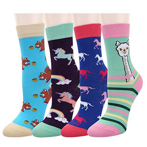Kids Girls Novelty Colorful Unicorn Llama Socks Funny Cartoon Rainbow Cute Animals Casual Crew Socks 4 Pack (animals02, Medium)