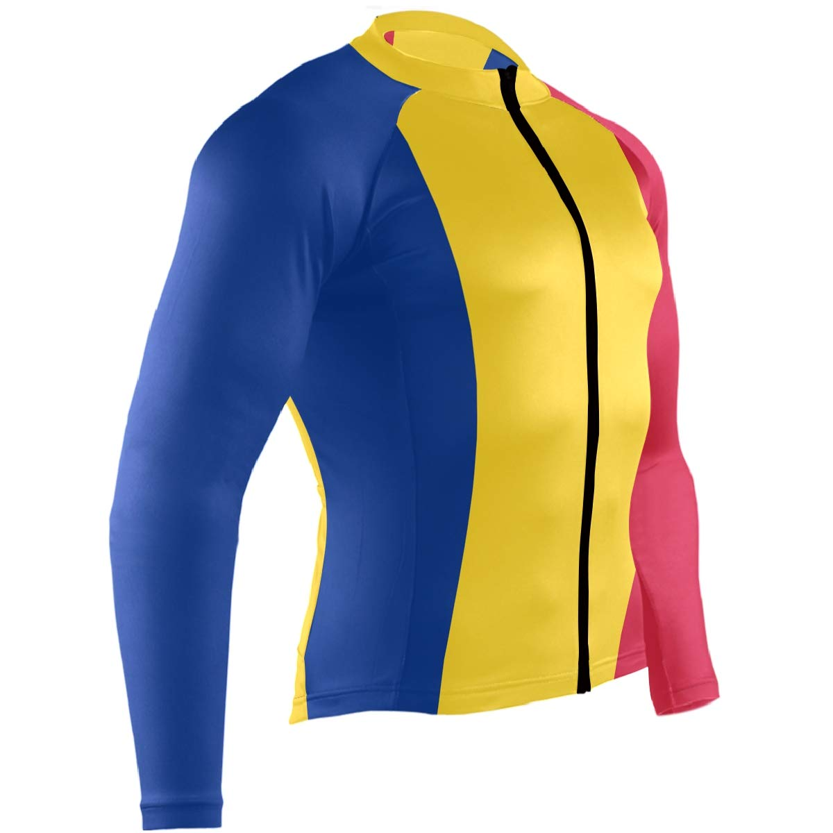 CHINEIN Mens Cycling Jersey Long Sleeve with 3 Rear Pockets Suit Romania Flag