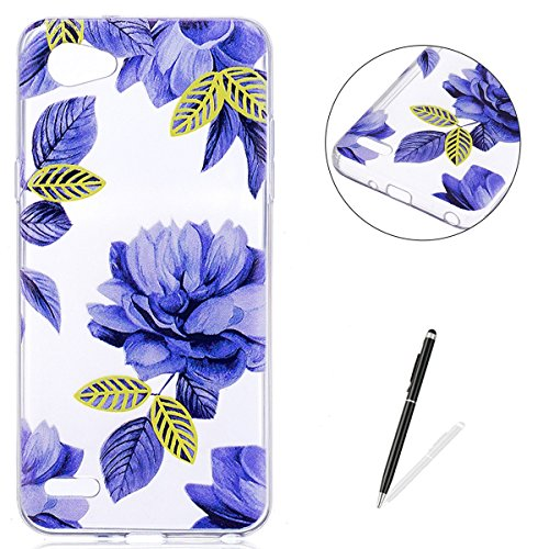 KaseHom LG Q6 TPU Case Clear Crystal with [Free Touch Stylus Pen] Funny Anime Design Ultra Slim Soft Rubber Shock-Absorption Bumper Cover Shell for LG Q6 - Blue Flowers ()
