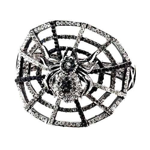 Stunning Halloween Spider on web handcasted using Swarovski Crystals Gothic Vintage Inspired NEW LARGE Gift Cuff Bangle Bracelet RSB935-S