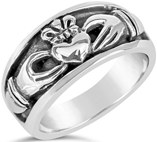 History Irish Claddagh Ring (Claddagh Collection Mens Oxidized Sterling Silver Inset Ring Size 6)