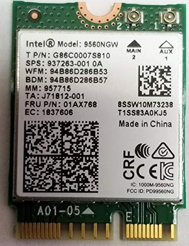 Intel Wireless-AC 9560, M.2 2230, 2X2 Ac+Bt, Gigabit, No - Socket Vpro