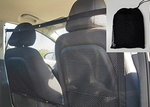 Pet Net Dog Barrier for Car or SUV Front or Back Seat Free Mesh Storage Bag Included Large Vehicle