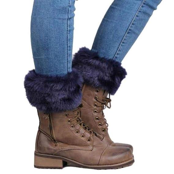 VJGOAL Mujeres de moda casual Crochet tejido de punto de la pierna de felpa calidez calcetines