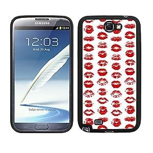 Funda carcasa TPU (Gel) para Samsung Galaxy Note 2 diseño estampado labios rojos borde negro