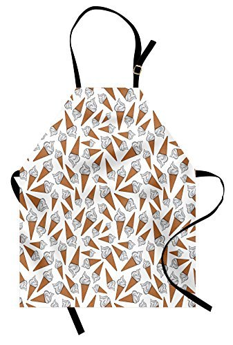 vhjg1og8fy Sweet Apron, Takeaway Vanilla Ice Cream Gelato Background Yummy Desert Scoop Image Print, Unisex Kitchen Bib Apron with Adjustable Neck for Cooking Baking Gardening, Pearl Pale Caramel