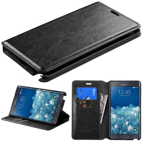 Galaxy Note Edge Case, E-Time(TM) Samsung Galaxy Note Edge Fashionable Premium Leather Protective Flip Cover and Card Holder Case Wallet Pouch (Free E-Time Brand Stylus Pen Included) (BLACK)