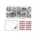 200Pcs in4001-in4007in5817-in581910Valores diodos Componentes Electrónicos diodos rectificadores (Assortment Kit con caja de almacenamiento transparente