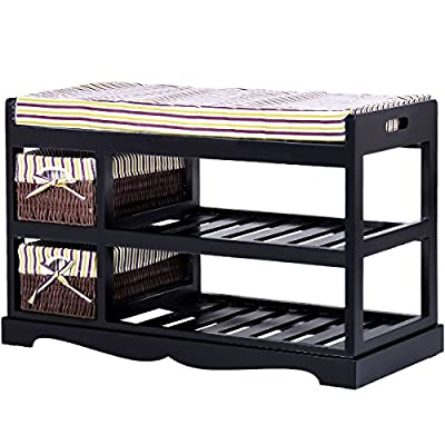 Giantex Shoe Bench Rack with Upholstered Padded Seat Storage Shelf Origanizer Bench with 2 Baskets for Bedroom Entryway Living Room (Black) - 【Giantex Shoe Bench】: Giantex neat and compact shoe bench will help organize your shoes, heels, slippers, sandals and any other shoe related supply while providing a seat with comfortable cushion. Natural and smooth finish, rounded corners, protect your family from being scratched. 【2 Storage Basket】: It features 2 pull-out storage drawers that you can keep some small stuff. Within this compartment one can place shoe laces, shoe shine, insoles, or anything else necessary for your foot care or for your shoes. 【Upholstered Padded Seat】: Comfortable sponge cushion with nice resilience gives you a comfortable place to seat while you wearing shoes. The cushion cover is demountable and easy to clean. - entryway-furniture-decor, entryway-laundry-room, benches - 51aJTwv3wbL. SS400  -