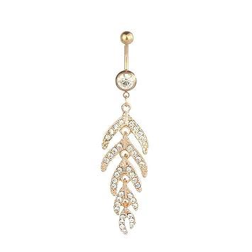 Nice Crystal Leaf Rhinestone Navel Belly Ring Bar Amazon Com