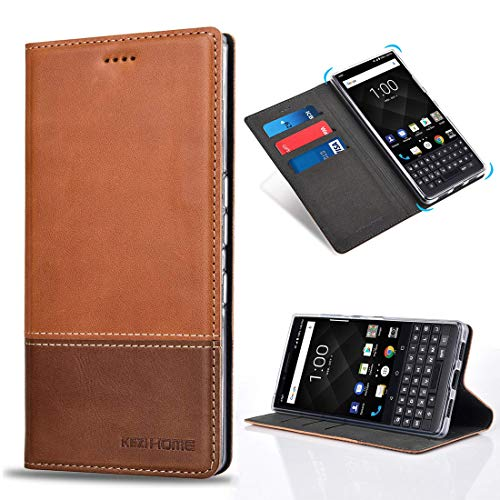 BlackBerry KEY2 Case, KEZiHOME Color Matching Genuine Leather Wallet Case with Kickstand and Multiple Card Slots Protective Cover for BlackBerry KEY2 (Khaki) ()