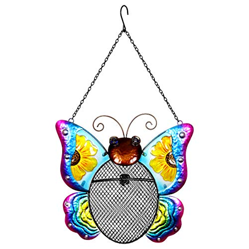 Exhart Metal Butterfly Hanging Bird Feeder w/Metal Mesh Seed Basket - Features Bright Sunflower Painting on Gradient Blue & Purple Butterfly Wings, Garden Art Metal Bird Feeders, 12 x 19 Inches - Exhart Bird Feeder