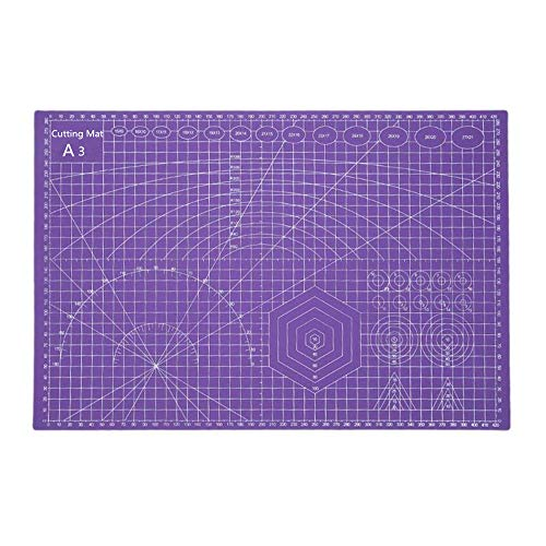 PVC Cutting Mat, Cherry a3 4530cm Utility Knife Spare Blade Durable Eco Friendly Self Healing Handmade Quilting Patchwork (Purple)