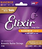 Elixir Strings 80/20 Bronze Acoustic Guitar Strings w NANOWEB Coating, HD Light (.013-.053)