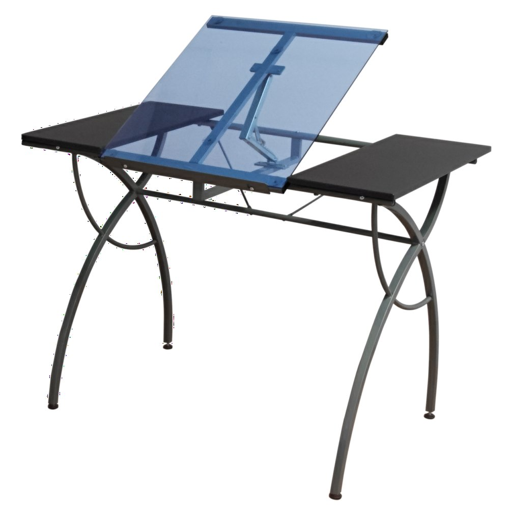 Offex Home Office Catalina Craft Table Pewter/Blue Glass