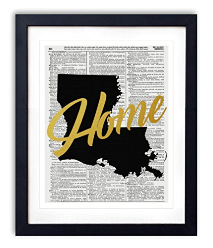 "Louisiana Home Gold Foil Art Print - Vintage Dictionary Reproduction Art Print ""Home"" Definition 8x10 inches Unframed"