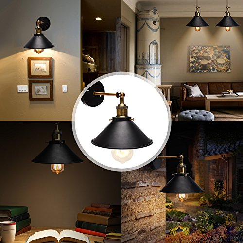 Wall Sconces 2-Pack JACKYLED UL Black Hardwire Industrial Vintage Wall Lamp Fixture Simplicity Bronze Finish Arm Swing Wall Lights by JACKYLED (Image #6)