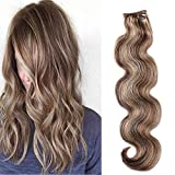 """Body Wave Clip in Hair Extensions 18"""" Brown and Blonde Curly Human Hair Extensions 70 Grams Wavy Remy Hair Clip on(#4/27, 7 Pcs)"""