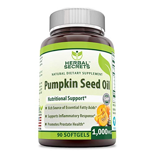 Herbal Secret's Pumpkin Seed Oil 1000 Mg, 90 Softgels - Rich Source of Essential Fatty Acids - Supports Inflammatory Response -Promotes Prostate Health -
