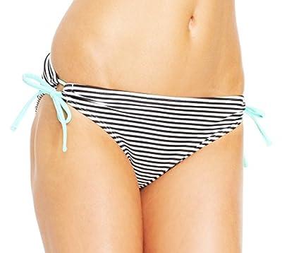 California Waves Women's Striped Keyhole Side-Tie Bikini Bottom,Blackstripe,S