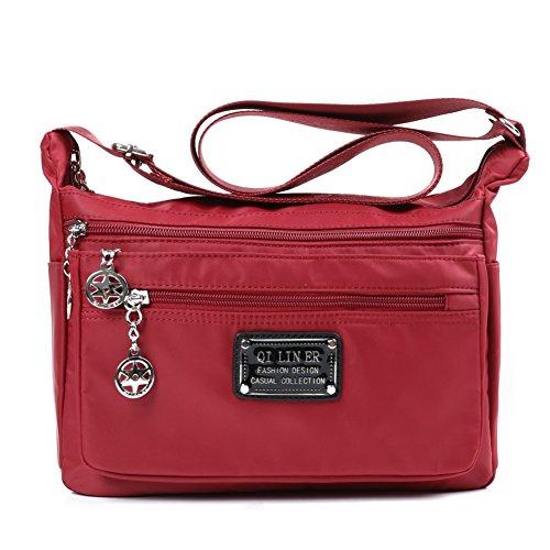 TENXITER Nylon Crossbody Handbag for Women with Pockets (Red)