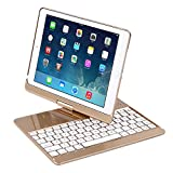 iPad Case with Keyboard for 9.7' 2017 New iPad 9.7/Pro 9.7/Air2/Air,Genjia Bluetooth Wireless Keyboard Backlit Tablet Carrying Holder Auto Sleep/Wake Flip Rotate Slim Folio Smart Cover (Gold)