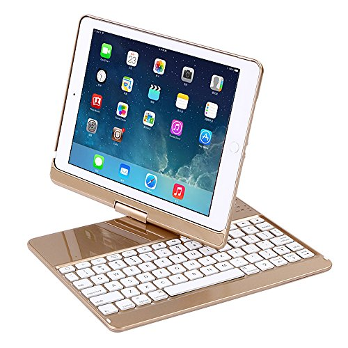 """iPad Case with Keyboard for 9.7"""" 2017 New iPad 9.7/Pro 9.7/Air2/Air,Genjia Bluetooth Wireless Keyboard Backlit Tablet Carrying Holder Auto Sleep/Wake Flip Rotate Slim Folio Smart Cover (Gold)"""
