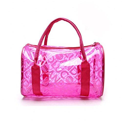 Mengonee Impermeable a prueba de humedad muchacha de las mujeres del bolso de la playa bolsas de mano portátiles transparentes cierre de cremallera de natación bolsas de PVC rosa