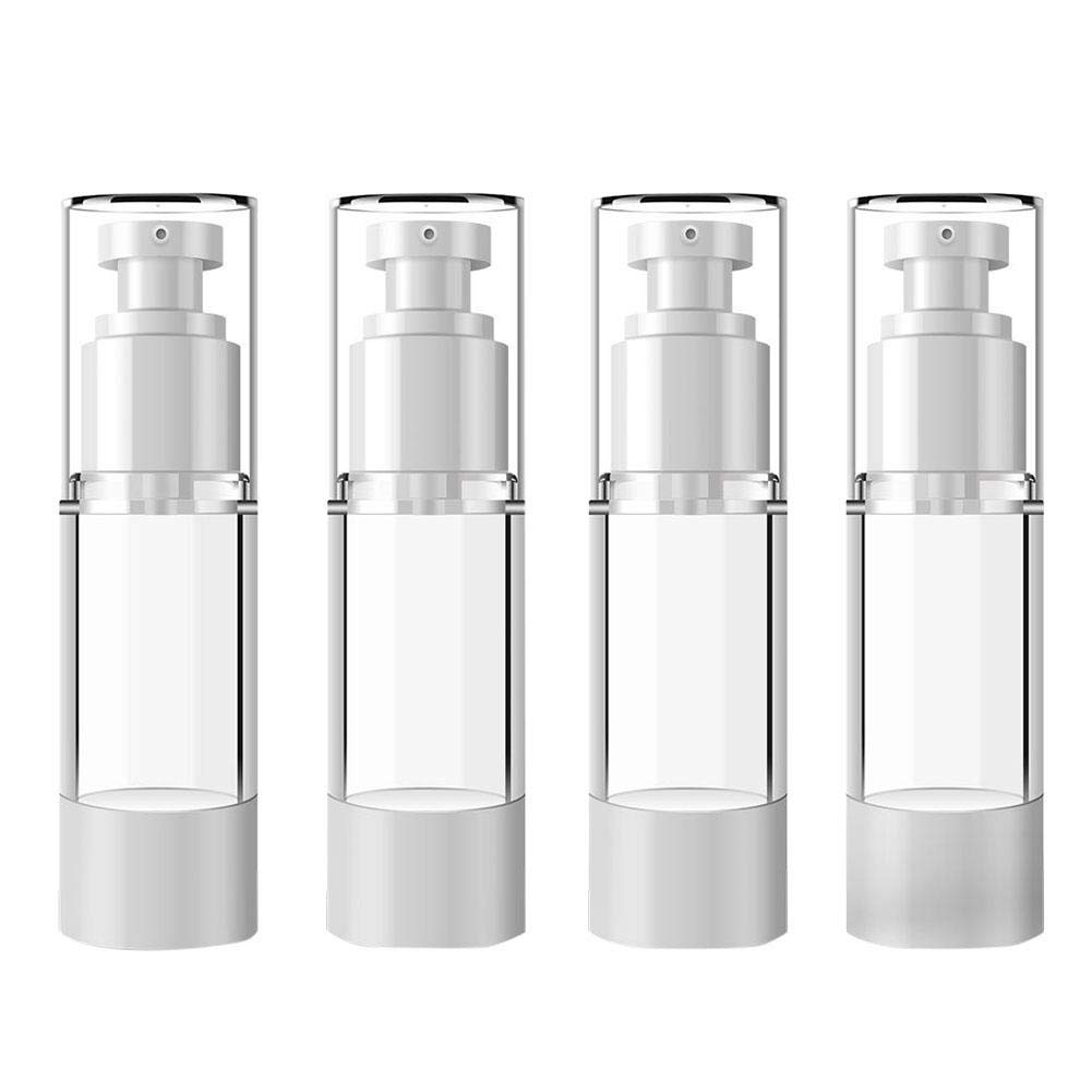 Aovie 4 Pcs Plastic Airless Pump Empty Bottle Refillable Travel Bottles with Dispenser Vacuum Cosmetic Container for Jars Lotion Cream (30ml)