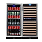 KingsBottle 3-Zone Wine and Beverage Combo Refrigerator, Holds 300 Cans and 106 Bottles, Stainless Steel with Glass Door