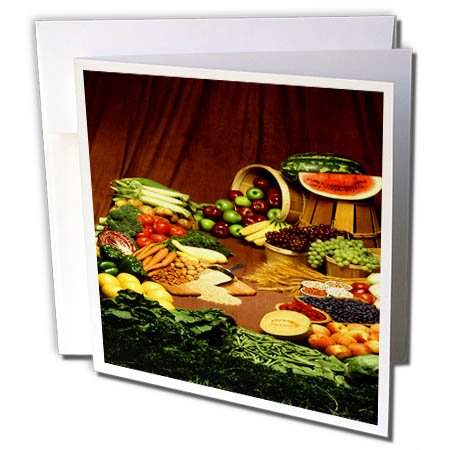 3dRose TDSwhite – Farm and Food - Food Vegetables Fruits Grains Healthy - 12 Greeting Cards with Envelopes (gc_285175_2) by 3dRose