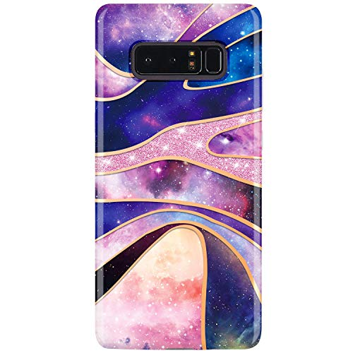 RXKEJI Sparkle Glitter Shiny Rose Gold Stripe Arc Purple Outer Space Design Clear Bumper TPU Soft Rubber Silicone Cover Phone Case for Samsung Galaxy Note ()