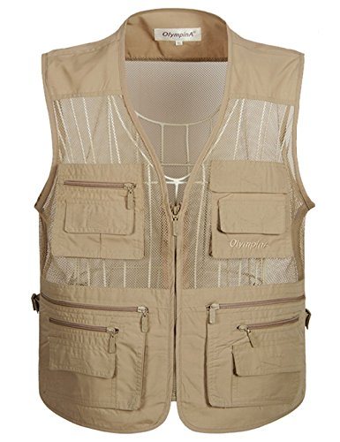 Flygo Men's Summer Mesh Fishing Vest Photography Work Multi-Pockets Outdoors Journalist's Vest Sleeveless Jacket (X-Large, Khaki)