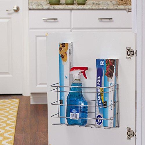 Household Essentials 1222-1 Double Basket Door Mount Cabinet Organizer | Mounts to Solid Cabinet Doors or Walls