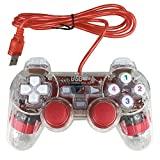 Bowink USB Pc Computer Vibration Shock Wired Gamepad Game Controller Joystick Game Pad (Clear Red)