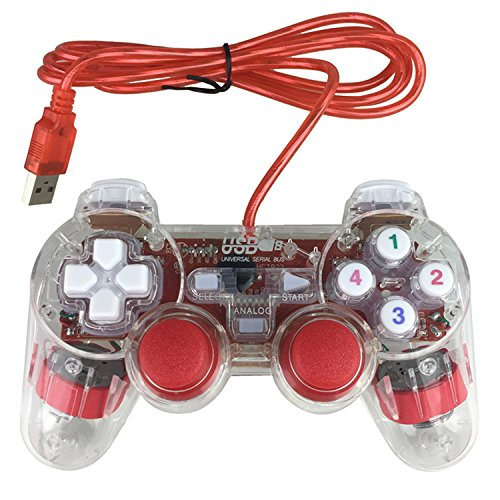 Poulep USB PC Wired Gamepad Game Controller Dual Vibration Shock for PC Computer Laptop Windows Joystick Game Pad (Clear Red)