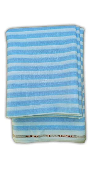 f835170527 Raymond Men's Poly Cotton Sky Blue and White Line Un-Stitched Shirt Fabric  (2.5 MTR): Amazon.in: Clothing & Accessories