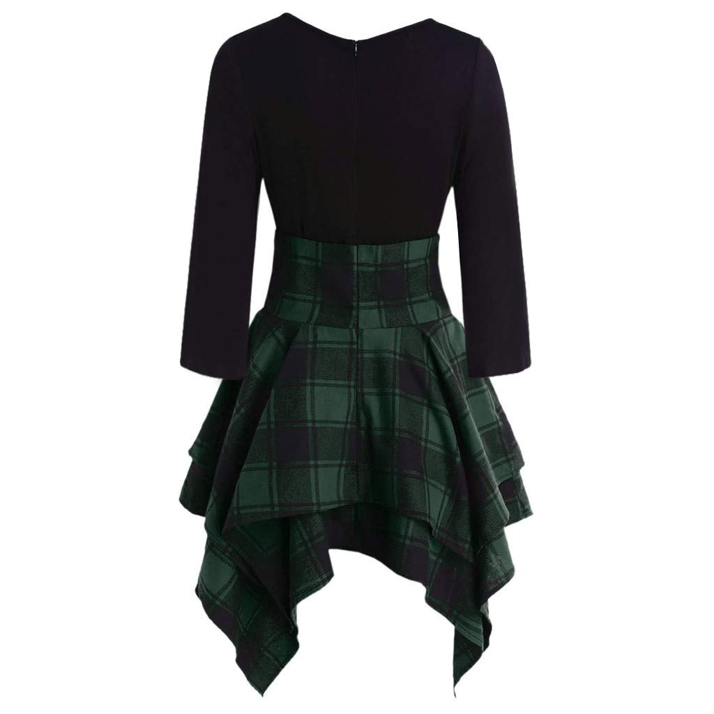 Fashion Womens Tartan Plaid Print Lace Up Long Sleeve O-Neck Asymmetrical Dress