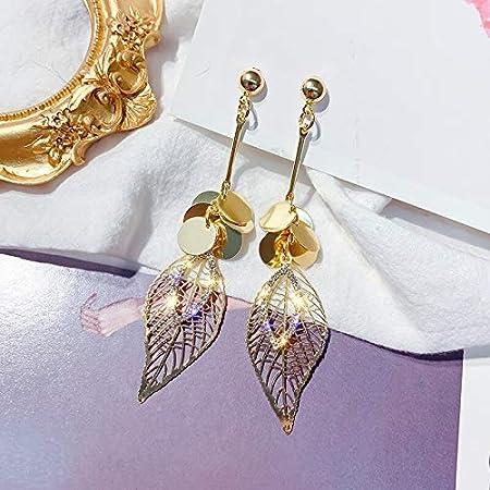 LLDEH Joyería de Moda Pendientes de Hoja Pendientes Largos de Oro de Cristal Pendientes de Fiesta de Boda para Regalo de Mujer