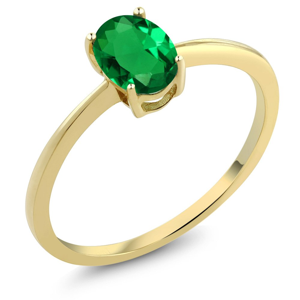 0.60 Ct Oval Green Simulated Emerald 10K Yellow Gold Solitaire Engagement Ring (Size 6)